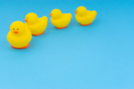 Yellow rubber duck on blue background. Selective focus and copy space concept