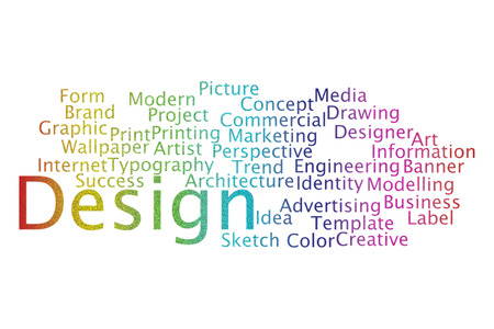 Design word cloud collage. Business and Technology concept.