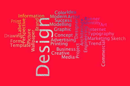 Design word cloud collage. Business and Technology concept. Banco de Imagens