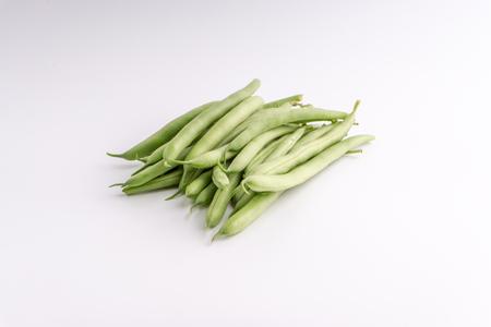 Green bean bunch closeup. Fresh Green bean  Also known as French beans, string beans, snap bean, snaps and haricots vert.