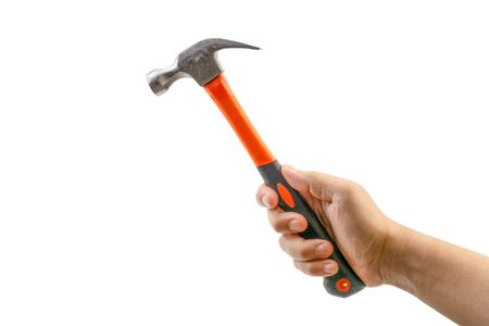 Hand holding hammer isolate on white. Selective focus Reklamní fotografie - 123924379