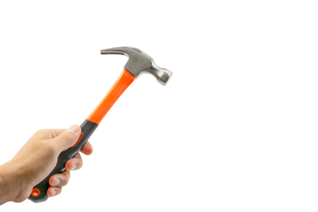 Hand holding hammer isolate on white. Selective focus