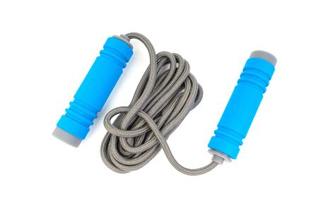 Skipping rope or jumping rope isolated on white background. Selective focus and crop fragment Reklamní fotografie