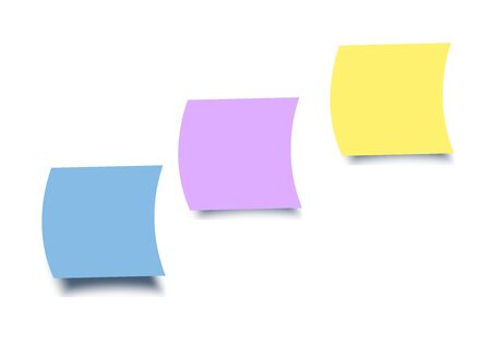 Colourful sticky notes on white background