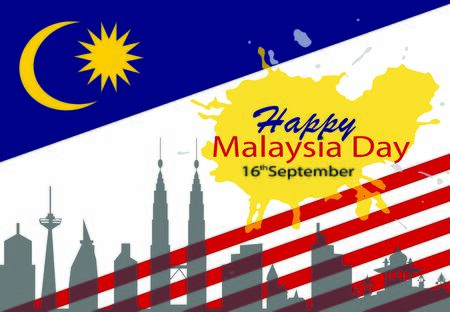 illustration of Malaysia flag white background with words HAPPY MALAYSIA DAY 16 SEPTEMBER