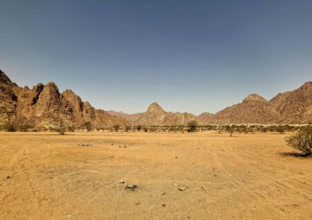 Landscape of desert view on extreme heat weather. Travel concept
