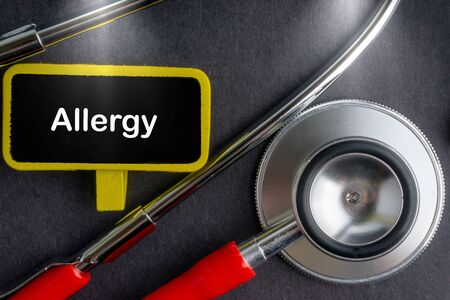 ALLERGY. Medicine concept. Blackboard with word ALLERGY and stethoscope