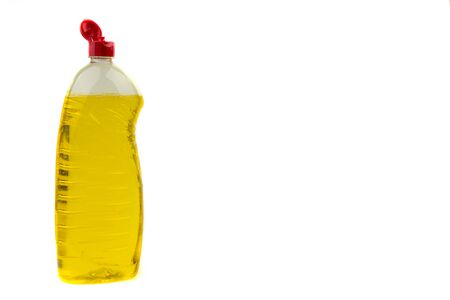 Dishwashing liquid detergent or soap in plastic bottle isolated on white background. Selective focus and copy space concept