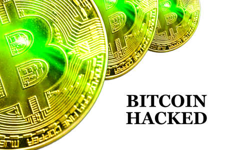 BITCOIN HACKED text on white background. Cryptocurrency theft concept Stockfoto