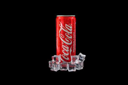 Kuala Lumpur, Malaysia - October 19, 2020 : Coca Cola or Coke Drink on black background Editöryel