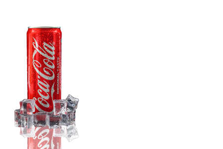 Kuala Lumpur, Malaysia - October 19, 2020 : Coca Cola or Coke Drink on white background