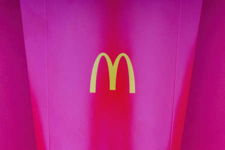 Kuala Lumpur, Malaysia - October 20, 2020 : McDonalds french fries box on red background Editöryel