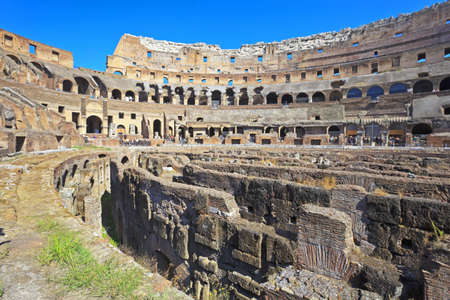 The Coliseum inside. Colosseum, the world famous landmark in Rome, Italy