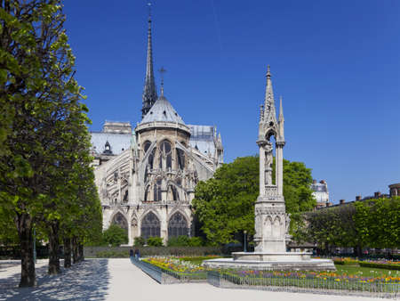 Notre dame cathedral garden, Paris, France