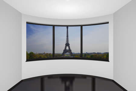 3d rendering the empty new room in Paris, France