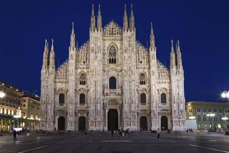 Facade of Milan Cathedral Duomo at night, Lombardy, Italy