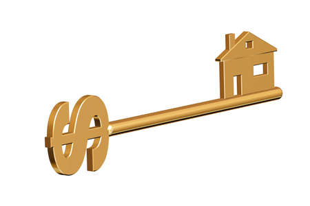 Golden key to your home with a dollar photo