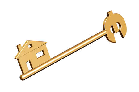 Golden key to your home with the euro symbol      photo