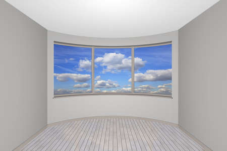 3d rendering the empty new room with a bay window Stock Photo - 8739062