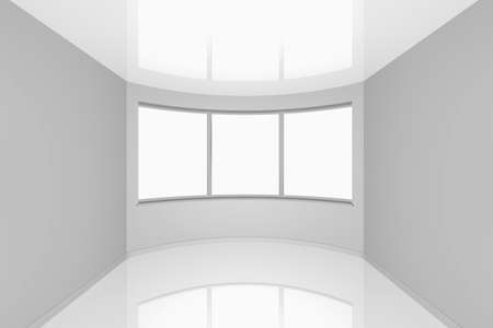 3d rendering the empty new room with a bay window Stock Photo - 8739057