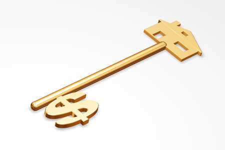 Golden key to your home with a dollar Stock Photo - 8862711