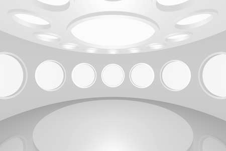 3D visualization of a modern futuristic interior empty space round Stock Photo - 8921287