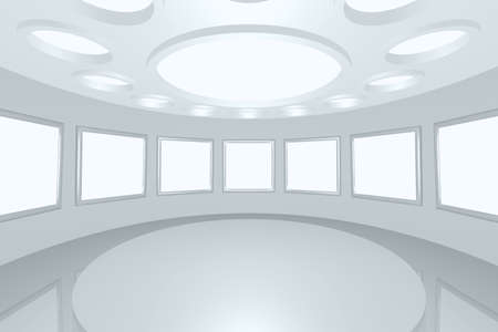 3D visualization of a modern futuristic interior picture gallery Stock Photo - 8922053