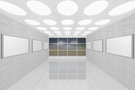 3D visualization of a modern inter picture gallery Stock Photo - 8921295