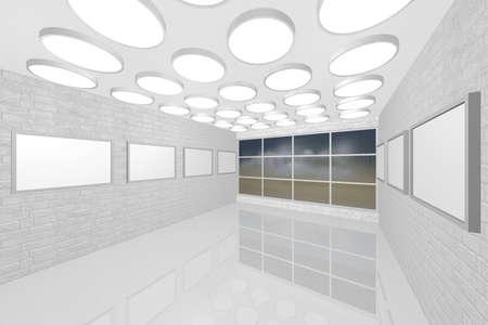 Visualizzazione 3D di una galleria di foto di interni moderni Archivio Fotografico - 8921296