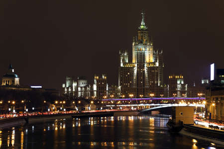 High-rise building on Kotelnicheskaya embankment in Moscow at night, Russia Stock Photo - 8995111