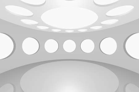 3D visualization of a modern futuristic interior empty space round photo