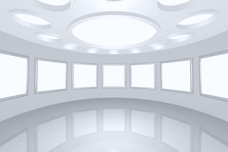 3D visualization of a modern futuristic interior picture gallery Stock Photo - 8995083