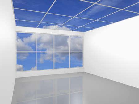 3D visualization of a modern futuristic interior empty new room Stock Photo - 8995091