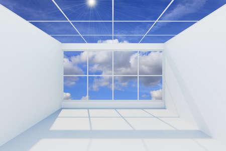 3D visualization of a modern futuristic interior empty new room photo