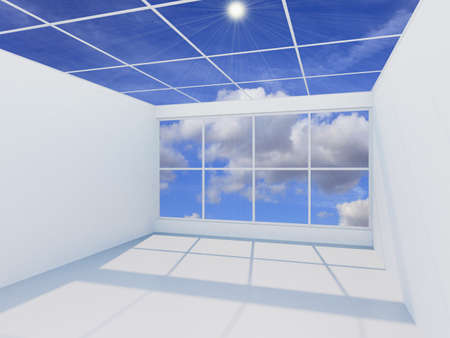 living room window: 3D visualization of a modern futuristic interior empty new room