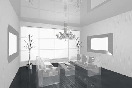 3D visualization of a modern interior living room with glass sofa photo