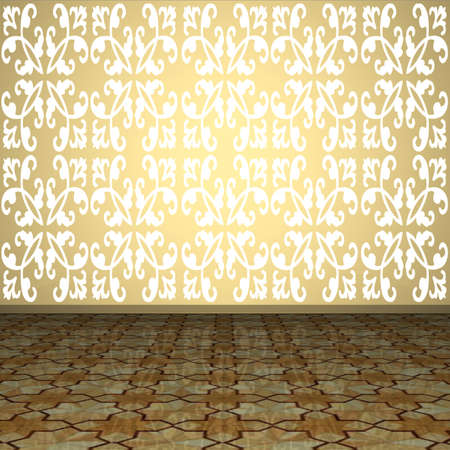 gold house: 3D interior. Fragment of wall and floor in an empty room.