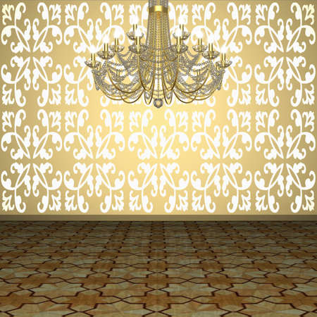 Fragment of the interior. Chandelier against the background of wall with wallpaper and parquet floors. (3D visualization).       photo