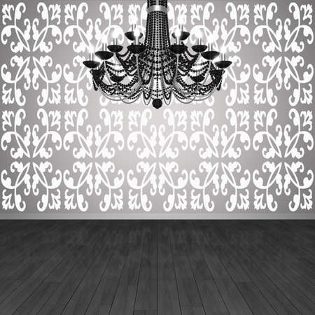 Fragment of the interior. Chandelier against the background of wall with wallpaper and parquet floors. (3D visualization).