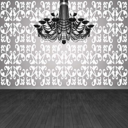 Frammento dell'interno. Lampadario sullo sfondo del muro con carta da parati e pavimenti in parquet. (Visualizzazione 3D). Archivio Fotografico - 8995143
