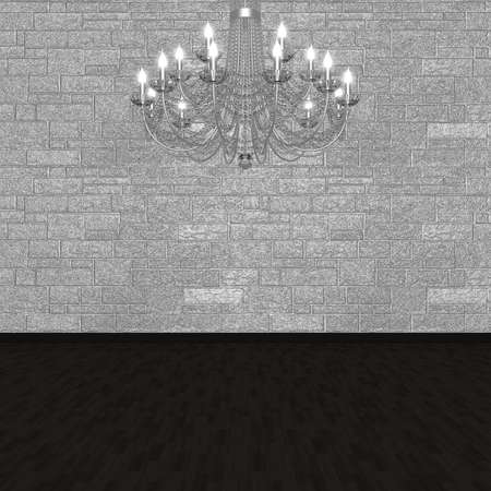 chandelier background: Chandelier against the background of a stone wall. (3D visualization).