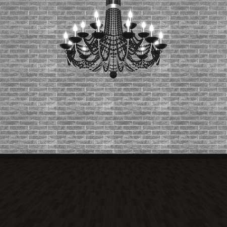 Chandelier against the background of a brick wall. (3D visualization).  photo