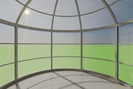 3D visualization of a modern futuristic inter empty space round Stock Photo - 9231236