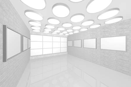 3D visualization of a modern inter picture gallery Stock Photo - 9231240