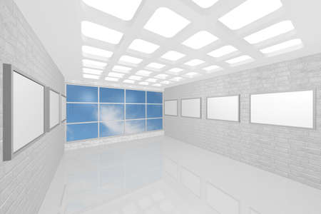 3D visualization of a modern inter picture gallery Stock Photo - 9231239