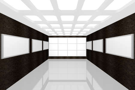 3D visualization of a modern inter picture gallery Stock Photo - 9231237