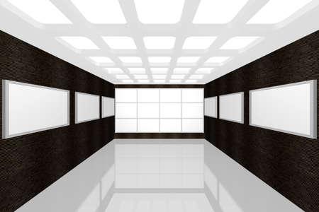 Visualizzazione 3D di una galleria di foto di interni moderni Archivio Fotografico - 9231237
