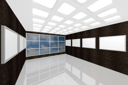 3D visualization of a modern interior picture gallery Stock Photo - 9231238