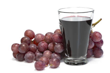 A glass of grape juice and bunch of grapes isolated on white background. Stock Photo