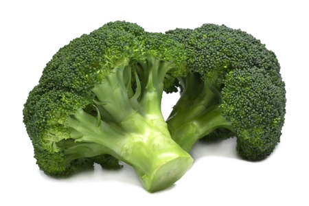 Two fresh green broccoli isolated on white. photo